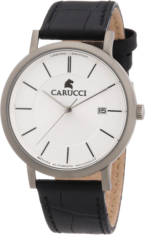 Carucci Watches CA2192SL - Reloj analógico automático para hombre, correa de cuero color negro