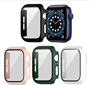 BHARVEST 4 Pack Hard PC Case Compatible with Apple Watch Series 3/2/1 38mm, Case with Tempered Glass Screen Protector Overall Bubble-Free Cover for iWatch Accessories, Black+White+Pink+Green