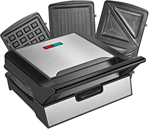 REDMOND Waffle Maker, Sandwich Maker, 800-Watts 3-in-1 Function Stainless Steel Maker with Detachable Non-stick Coating Plates, LED Indicator Lights