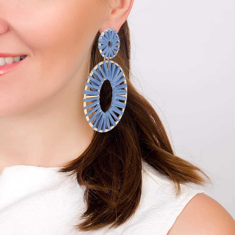 BaubleStar Raffia Tassel Hoop Drop Earrings Handmade Fashion Statement Jewelry for Women Girls