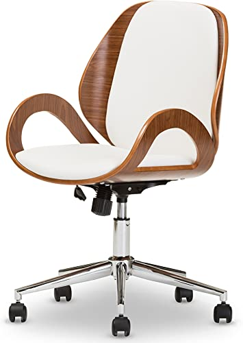 Baxton Studio Didier Modern Contemporary Office Chair, Walnut White