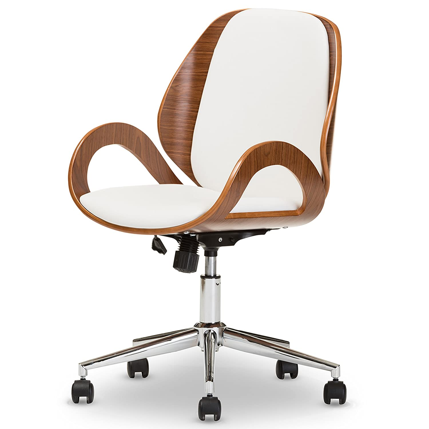 Baxton Studio Didier Modern & Contemporary Office Chair, Walnut/White