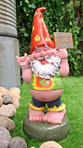 Ebros Gift New Age Free Spirited Hippie Garden Old Fat Mr Gnome Statue Whimsical DIY Fairy Cottage Setup Patio Outdoor Poolside Figurine 13.5