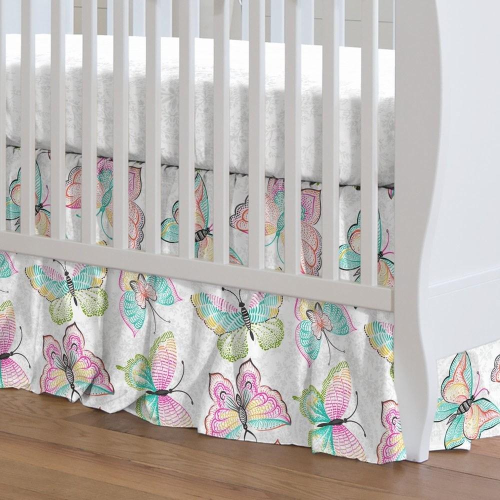 Carousel Designs Bright Damask Butterflies Crib Skirt Gathered 20-Inch Length