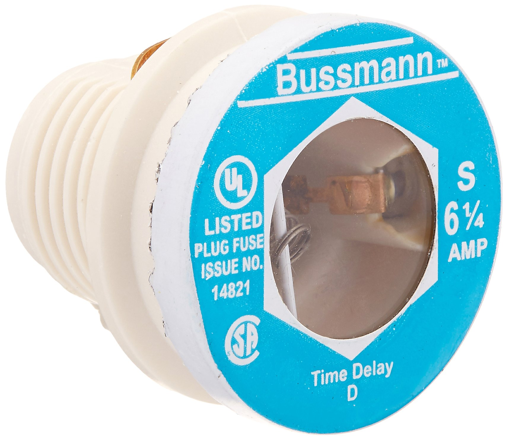 Bussmann S-6-1/4 6-1/4 Amp Type S Time-Delay Dual-Element Plug Fuse Rejection Base, 125V UL Listed, 4-Pack