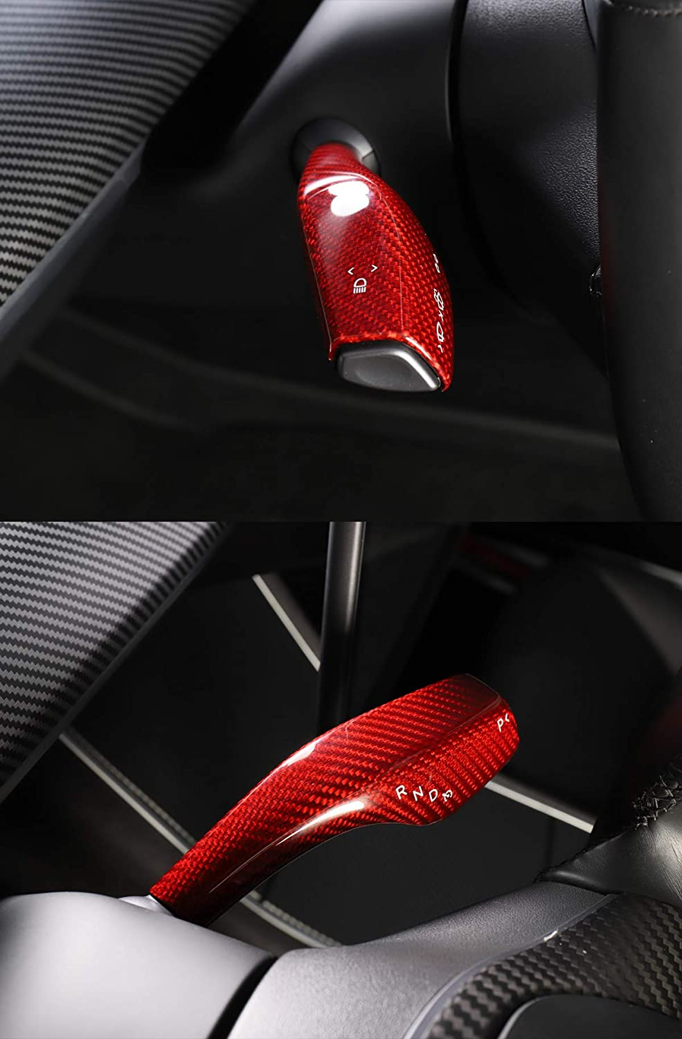 cf LUCKEASY Interior patch for for tesla model 3 2017-2020 real carbon fiber Column shift modeification