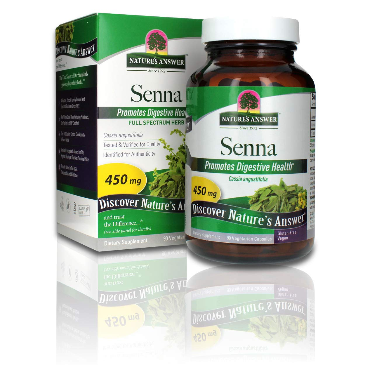 Nature's Answer Senna Leaf   Dietary Supplement   Promotes Digestive Health   Vegan, Gluten-Free & Kosher Certified   Vegetarian Capsules 90ct