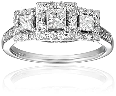 IGI Certified 14k White Gold Princess Cut Diamond Engagement Ring