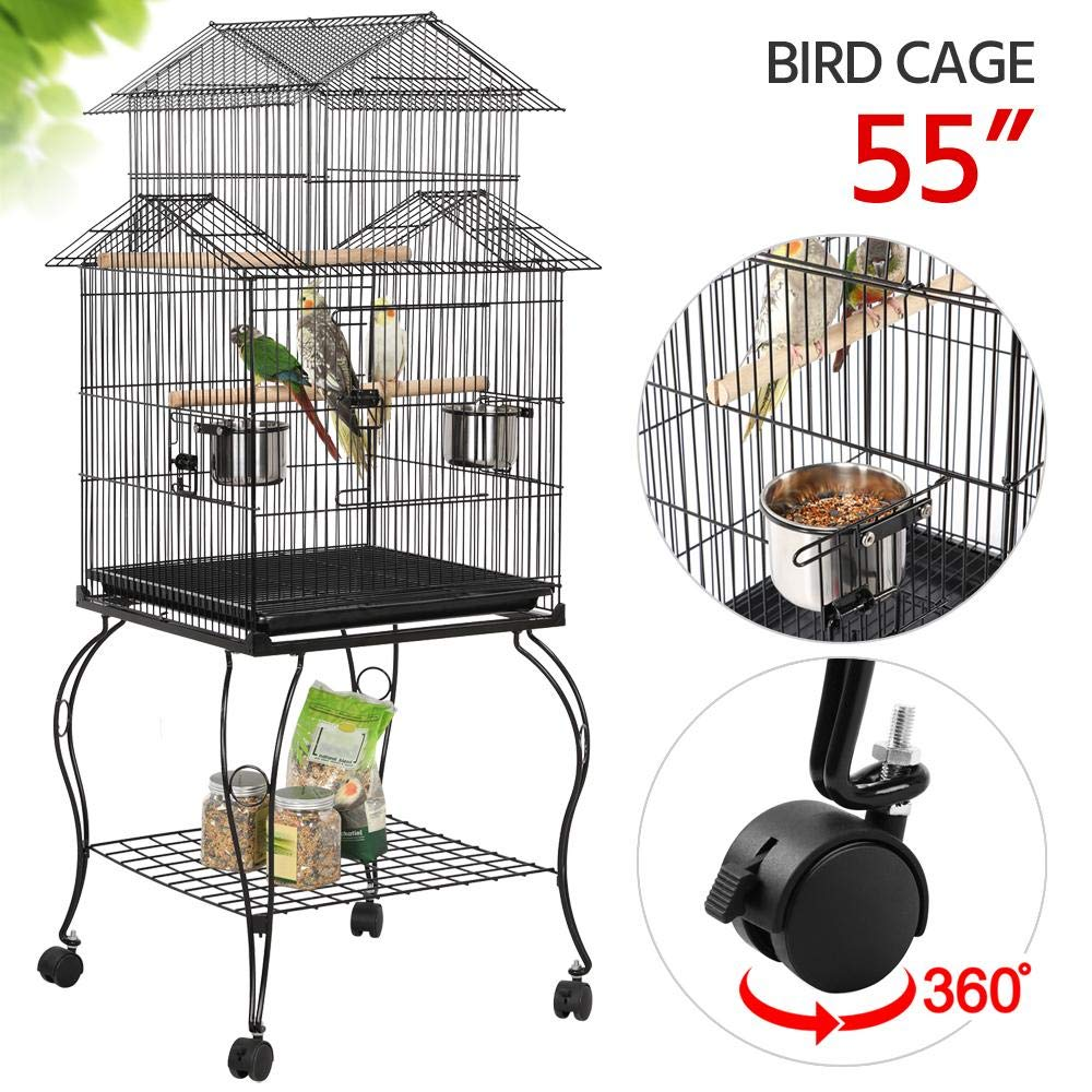 YAHEETECH 55-inch Rolling Standing Triple Roof Top Medium Parrot Cage for Mid-Sized Parrots Cockatiels Sun Parakeets…