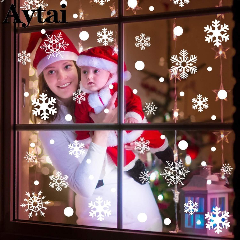 TSG GLOBAL 48pcs Christmas Snowflake Window Decorative Sticker Room Mirror DIY Stickers Christmas Decorations for Home 6045cm