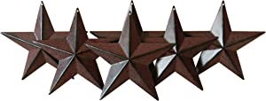 CVHOMEDECO. Country Rustic Antique Vintage Gifts Metal Barn Star Wall/Door Decor, 4-Inch, Set of 6. (Burgundy)
