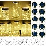 Solar Mason Jar String Light Lids, 10 Pack 20 LED Fairy Firefly String Light Inserts with 10 Hangers Starry Lighting for Pati