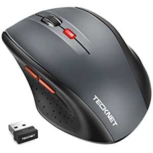 Wireless Mouse, TeckNet 2.4G USB Cordless Mice Optical PC Computer Laptop Mouse with 18 Month Battery Life, 2400 DPI 5 Adjustment Levels, Nano Receiver, 6 Buttons, 2400 DPI 5 Adjustment Levels, Nano Receiver For Windows Mac Macbook Linux