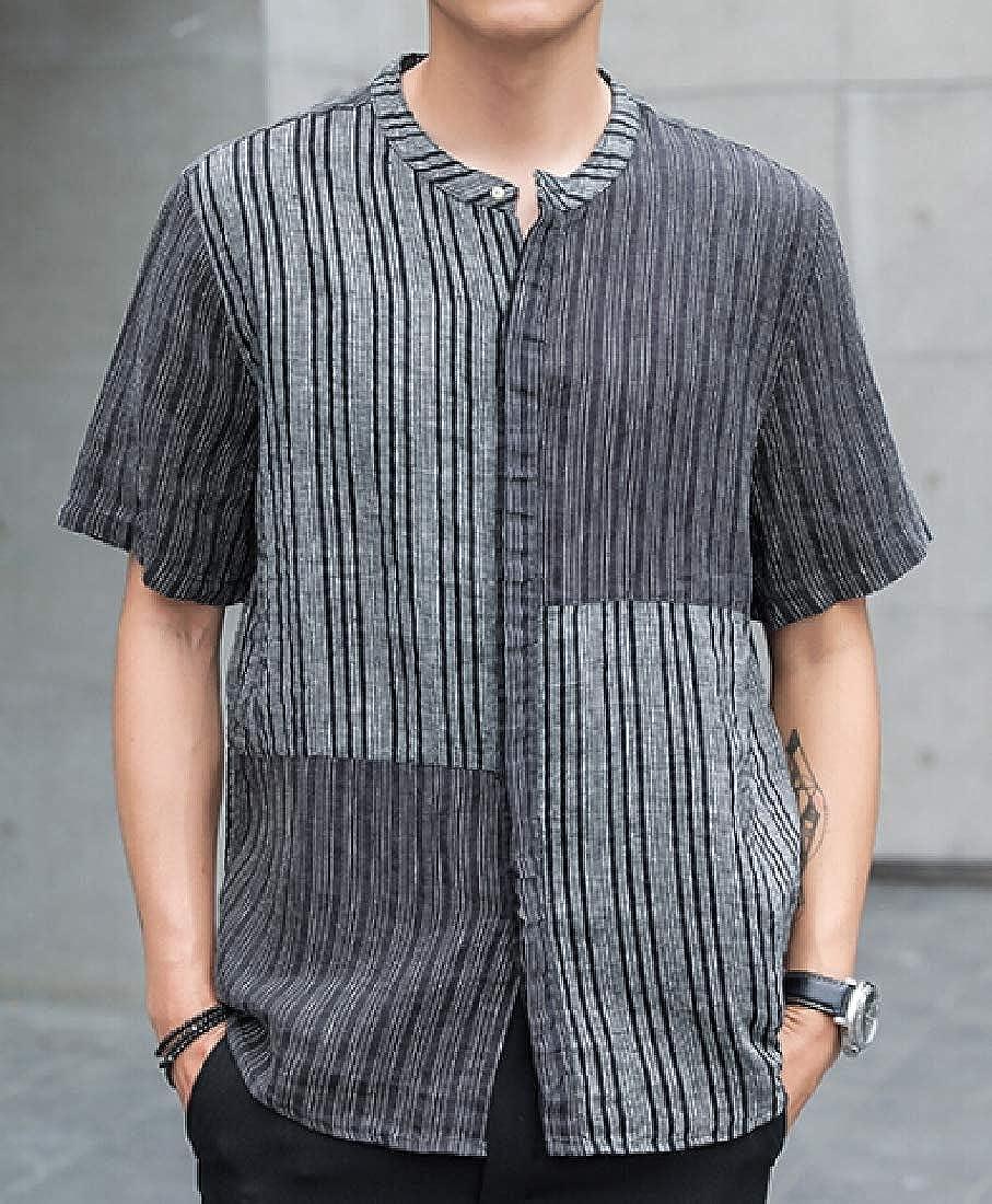 pujingge Mens Summer Linen Short Sleeve Stripe Button Down Shirt