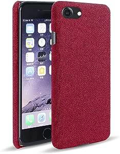 حافظة هاتف آبل آيفون Se 2020 من قماش ناعم ممتاز - أحمر