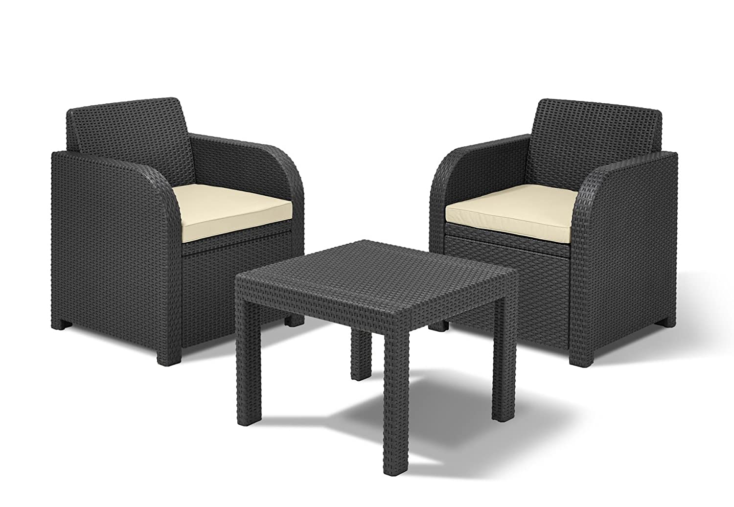 Allibert By Keter Atlanta 2 Seater Rattan Balcony Bistro Set Outdoor Garden  Furniture   Graphite With Cream Cushions: Amazon.co.uk: Garden U0026 Outdoors