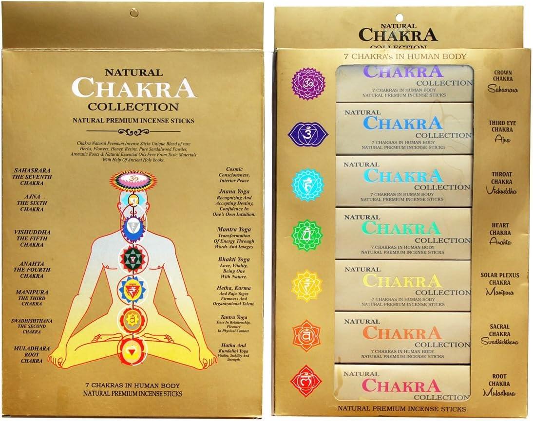 GJ-BOON - Varillas de incienso de colección natural de chakras Varillas de incienso de siete chakras enrolladas a mano