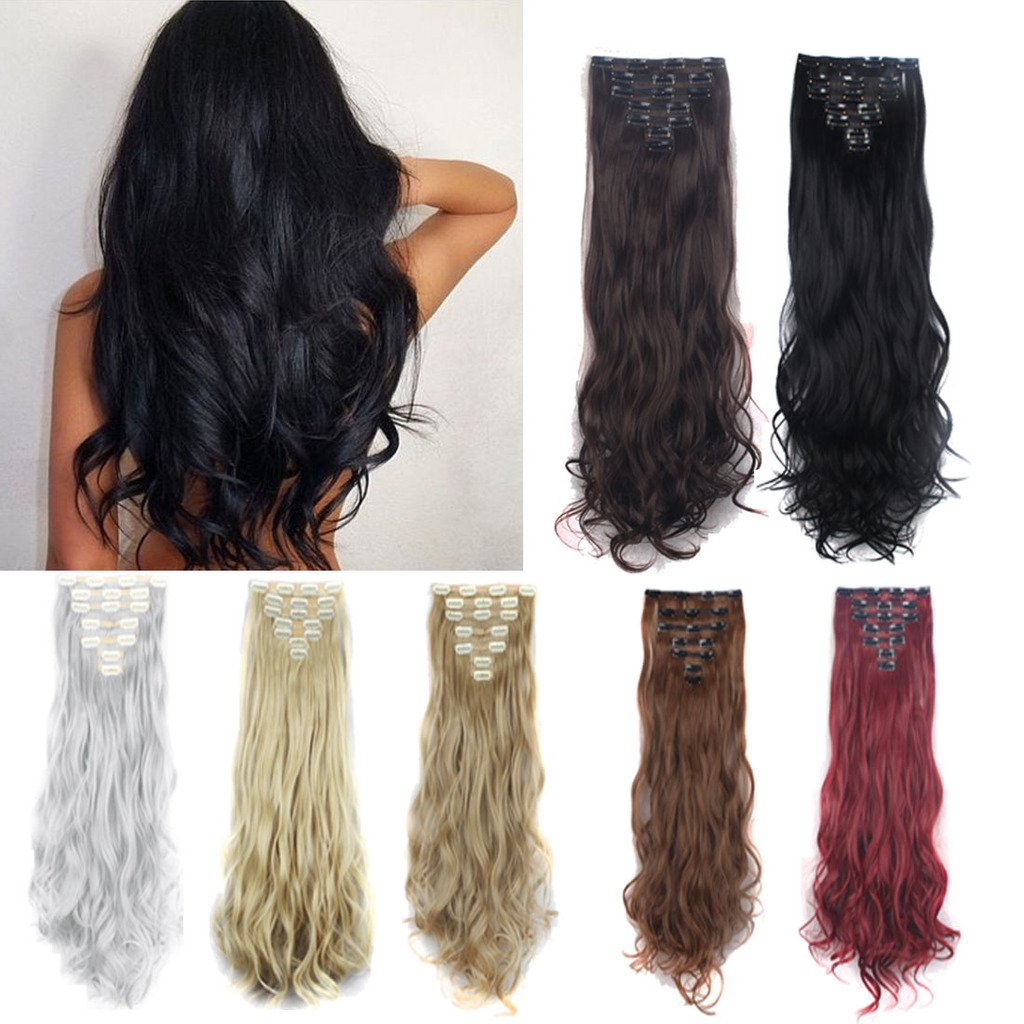 FUT 16 Clips in 7 PCS Curly Double Weft Synthetic Hair Pieces Extensions Full Head 24inch 160g for Girl Lady Women Ash Blonde Mix Bleach Blonde