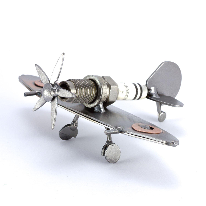 Steelman24 I Nuts and bolts sculpture Mini Plane Spitfire 2 I Handmade  ornaments I Made in Germany II Metal figurine