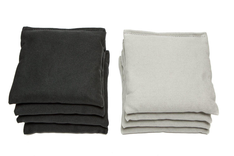Weather Resistant Cornhole Bags (Set of 8) by SC Cornhole (Black/Grey)