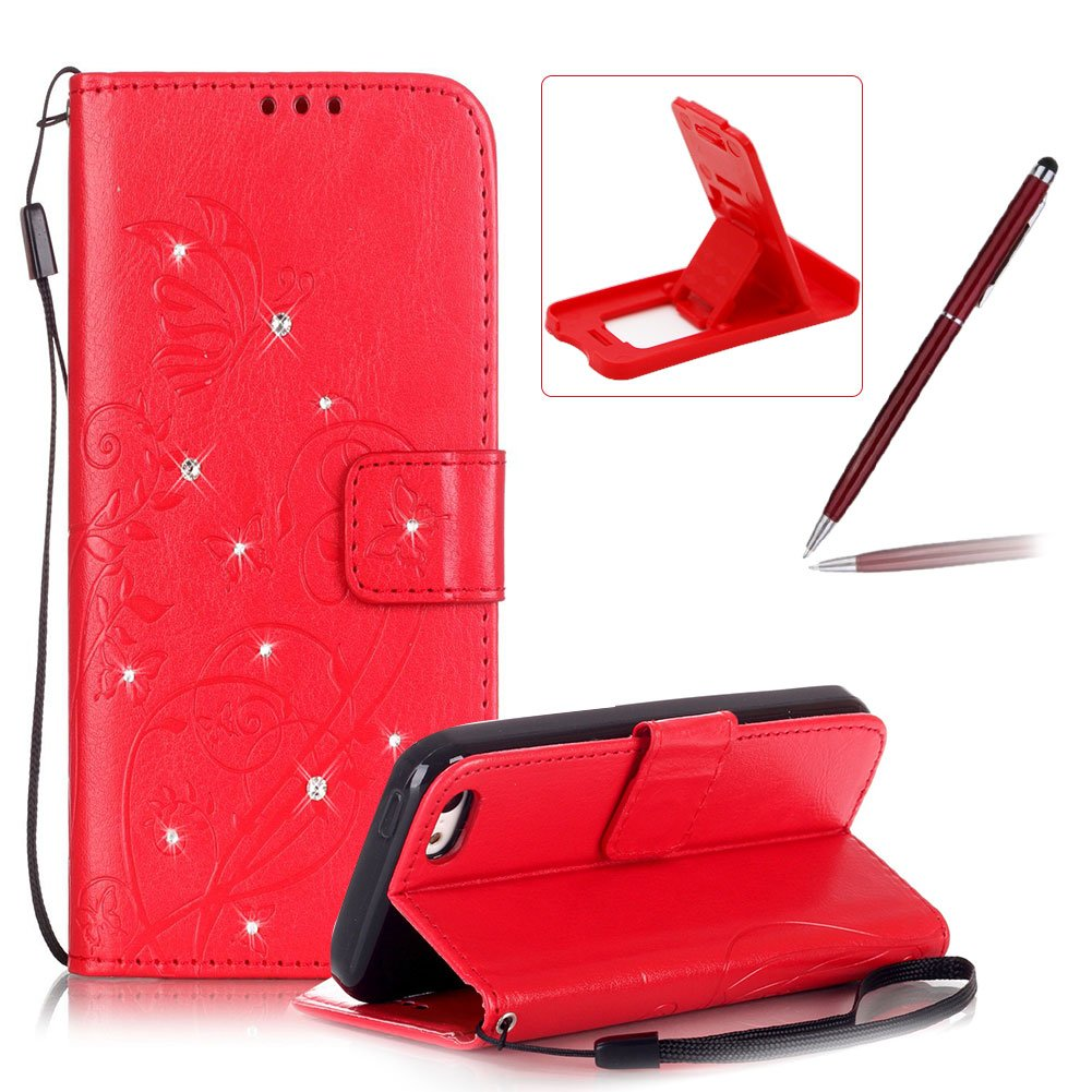 Wallet Case for iPhone 5C, Strap Portable Leather Case For iPhone 5C, Herzzer Stylish Bling Diamonds Gold Butterfly Embossed Pu Leather Purse Pouch Magnetic Closure Flip Folio Protective Case