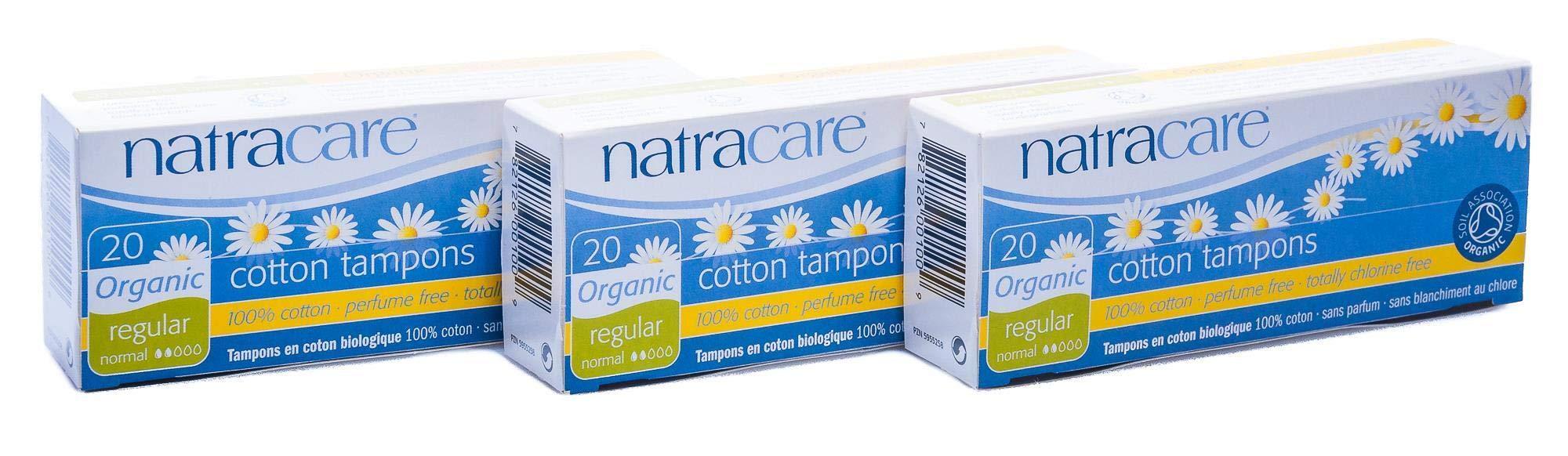 PACK OF 3 Natracare Organic Tampons Regular (non-applicator)