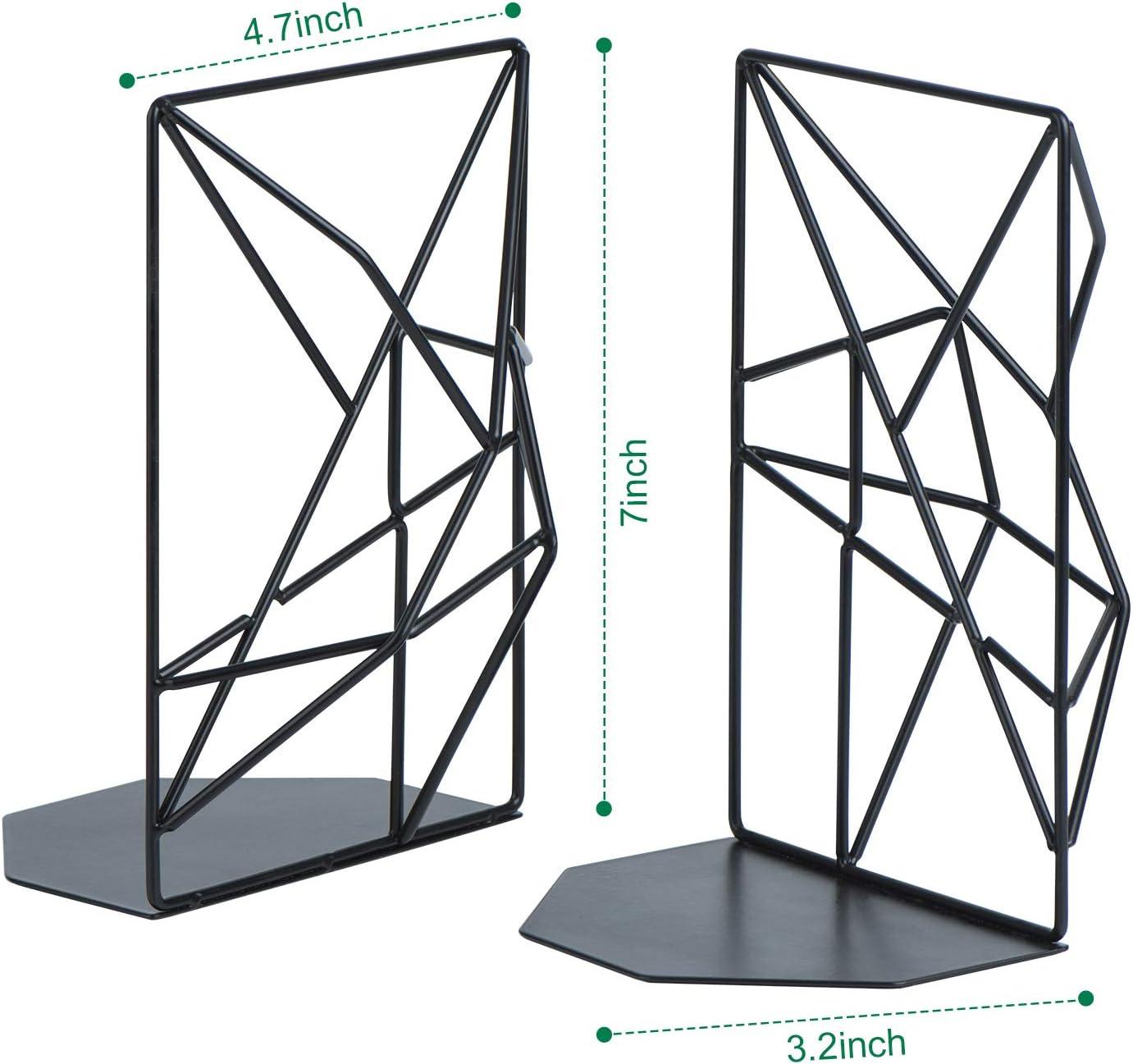 rutschfest 1 Paar Buchhalter f/ür Regale,geometrisches Design SRIWATANA Buchst/ützen aus Metall Schwarz