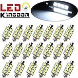 "LEDKINGDOMUS 20x 1.66"" 42mm 8-SMD Festoon 6000K White LED Interior Map Dome Lights Bulbs 211-2 578"