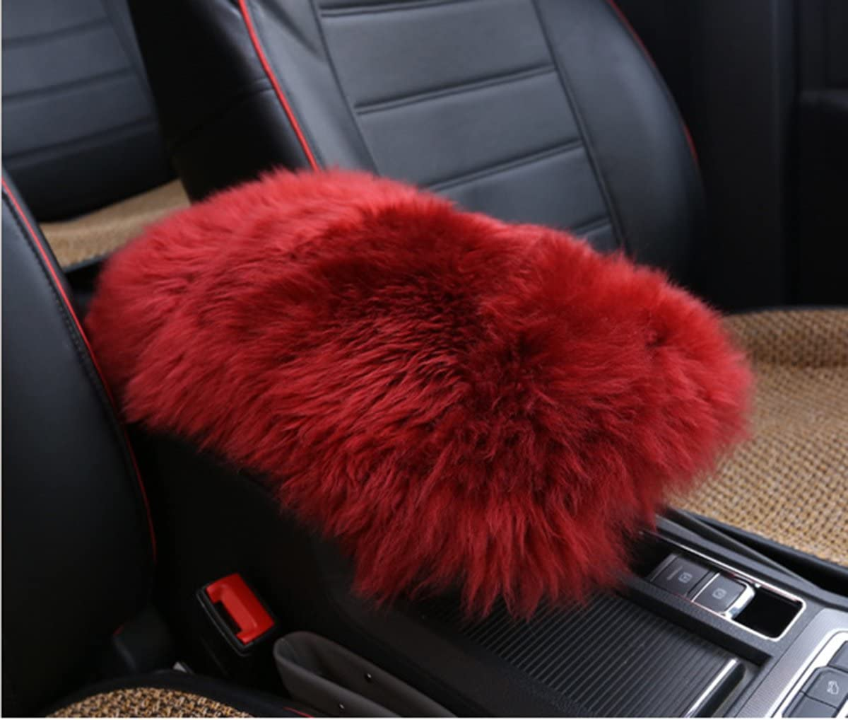 MLOVESIE Auto Center Console Armrest Pad Black Warm Winter Fluffy Sheepskin Wool Vehicle Center Console Arm Rest Seat Box Pad Cover Cushion Universal Fit for Most Car 5.91x11.81 inch
