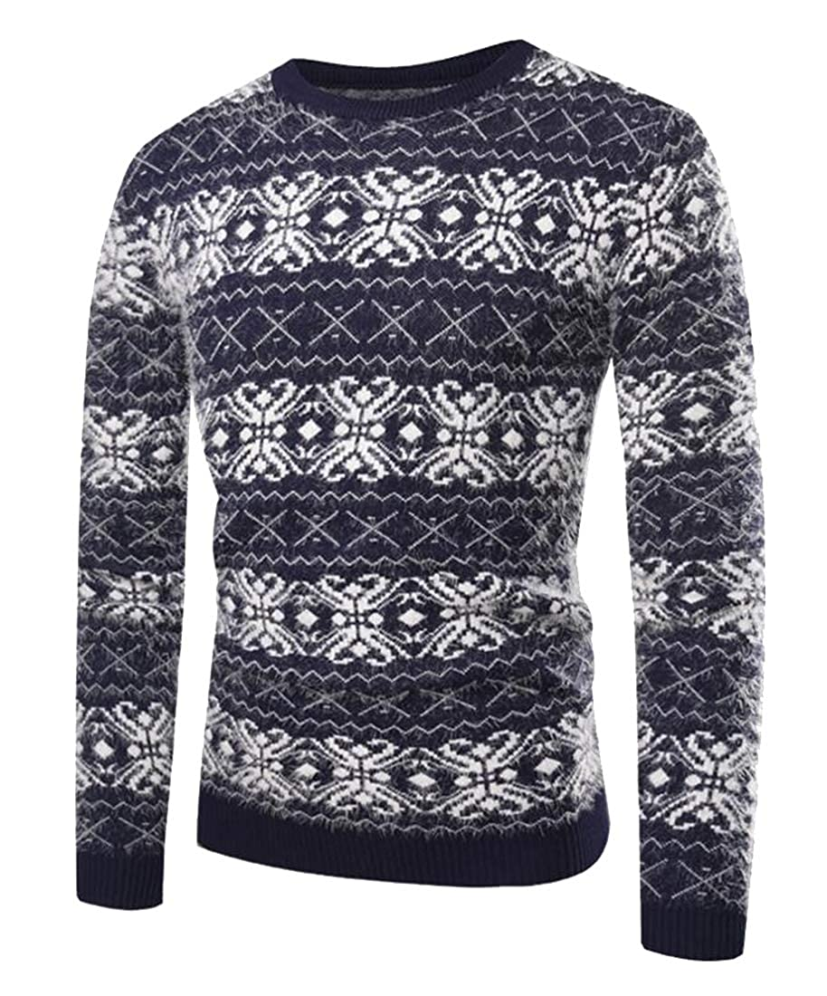 FSSE Mens Casual Crewneck Printed Slim Long Sleeve Knit Pullover Sweater