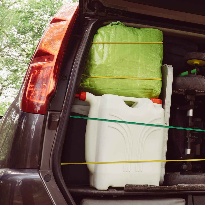 kskm Set de 24/Premium el/ástica para equipaje con pl/ástico reforzado /überzogenen Ganchos Incluye 4/Bola Tensor/ /duraderas Expander//Goma//amarrar//zurrgurte//GUMMISEIL