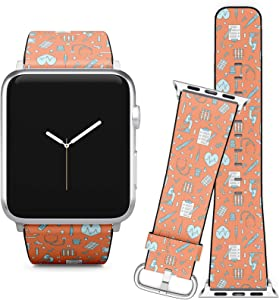 Compatible with Apple Watch (38/40 mm) Series 5, 4, 3, 2, 1 // Leather Replacement Bracelet Strap Wristband + Adapters // Medical Clinic