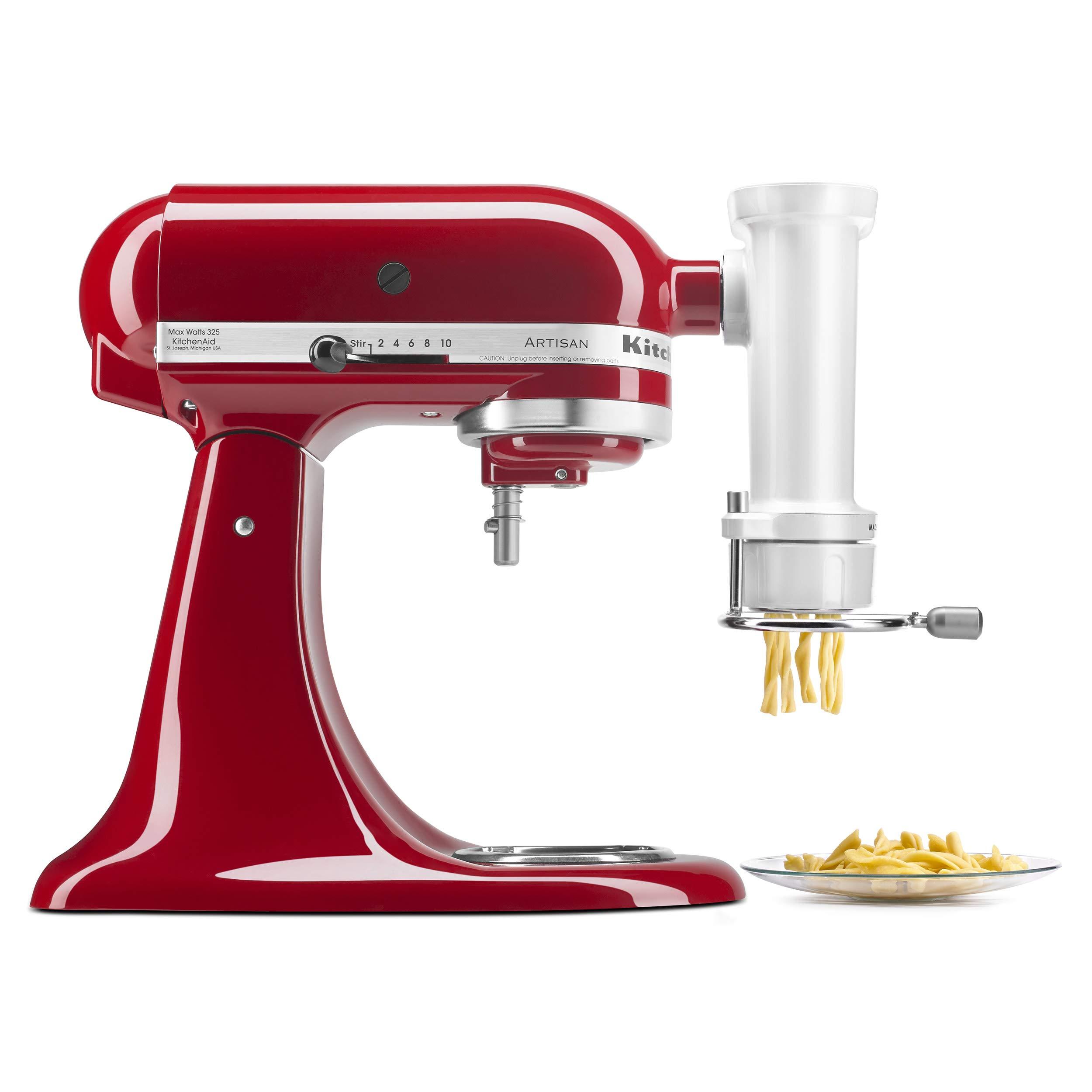 KitchenAid KSMPEXTA Gourmet Pasta Press Attachment with 6 Interchangeable Pasta Plates, White by KitchenAid