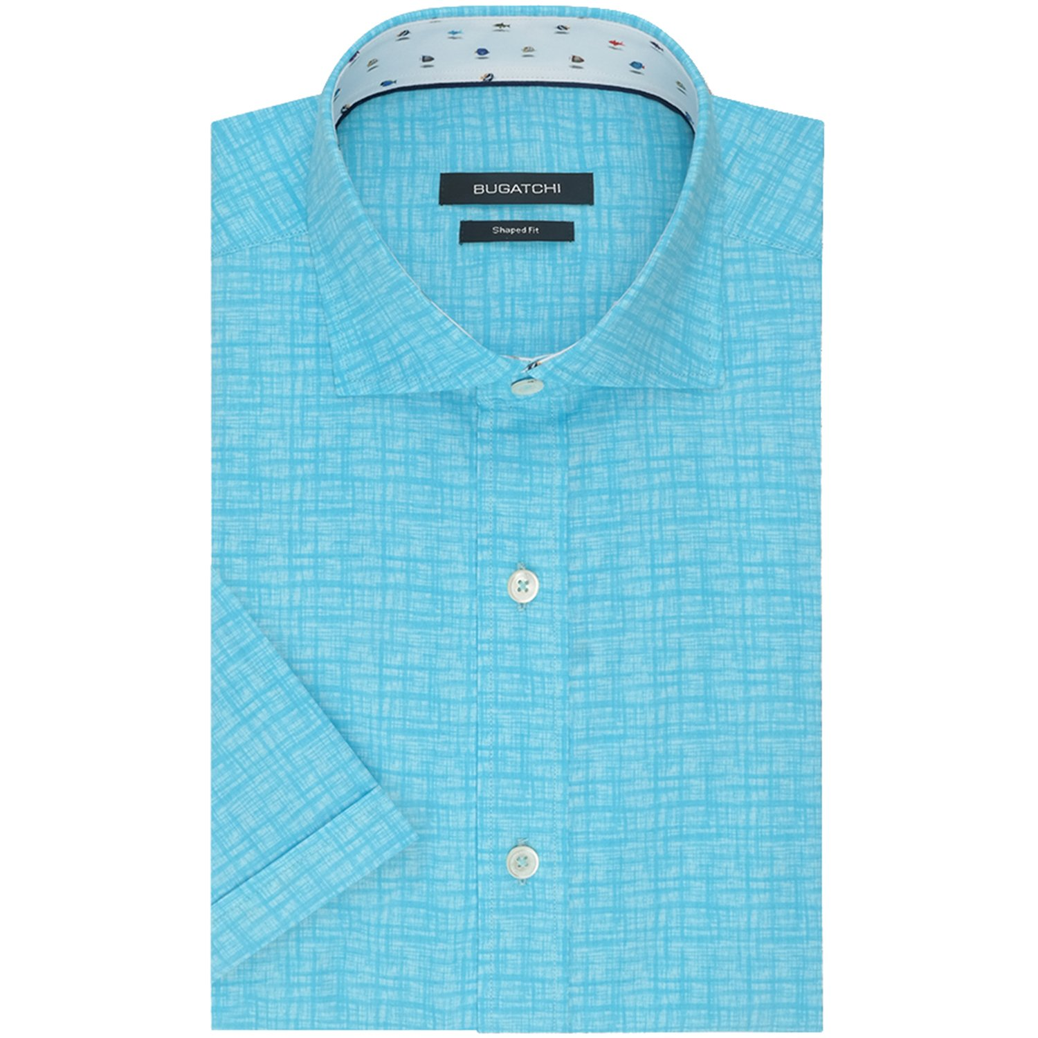 80858cc26 Escape to youre the island life in the Bugatchi Castaway Sport Shirt in Air  Blue. The Castaway short sleeve mens button up shirt by Bugatchi features  an all ...