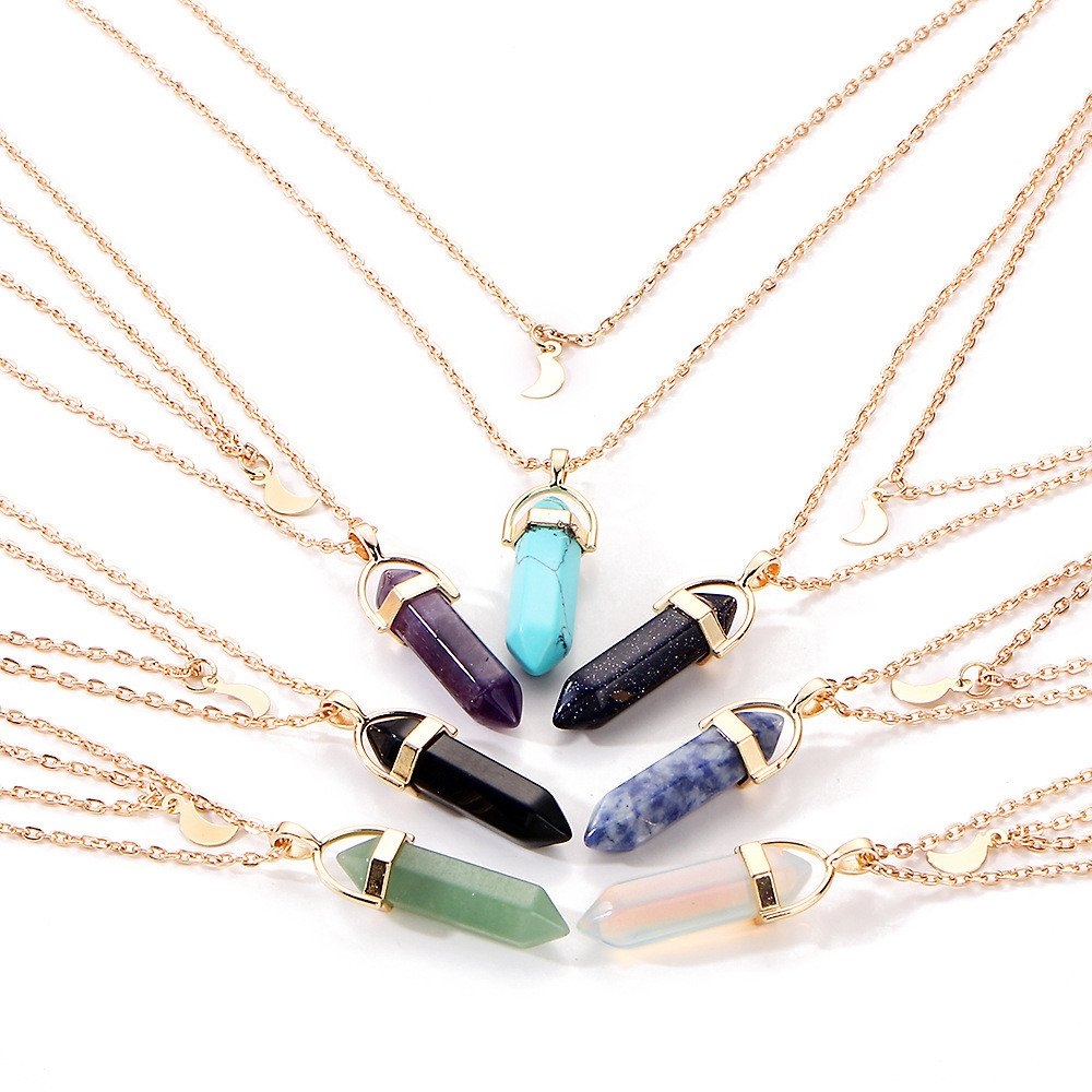 SuperXC Hexagonal Chakra Crystal Bullet Shape Gemstone Pendant Necklaces Pointed Quartz Stone Chain Necklaces Black