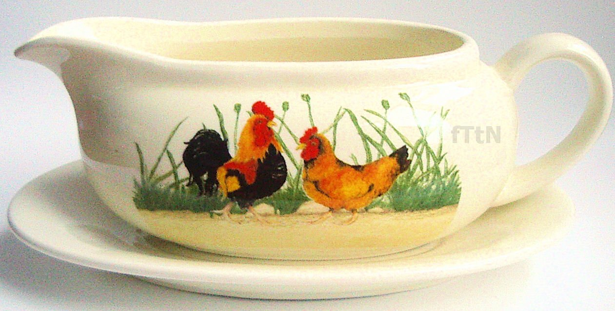 Farmyard Kitchen Cockerel & Hen Ceramic Gravy/Sauce Boat
