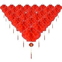 30 Piezas Farolillos de Papel de Plástico Rojos