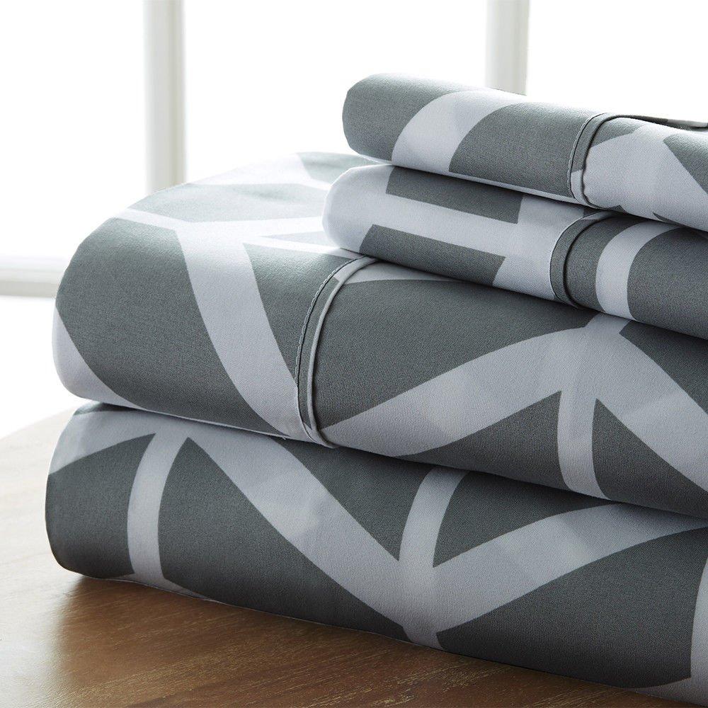 Premium - Ultra Soft - 4 Piece Bed Sheet Sets/Arrow/Gray/King