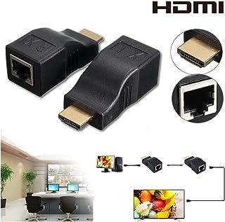 2pcs HDMI Repeater, Ksrplayer câble HDMI vers réseau RJ45Extender Plus par Cat 5e/61080p jusqu'à 30m de Répéteur pour HDTV Hdpc PS4STB 4K 2K