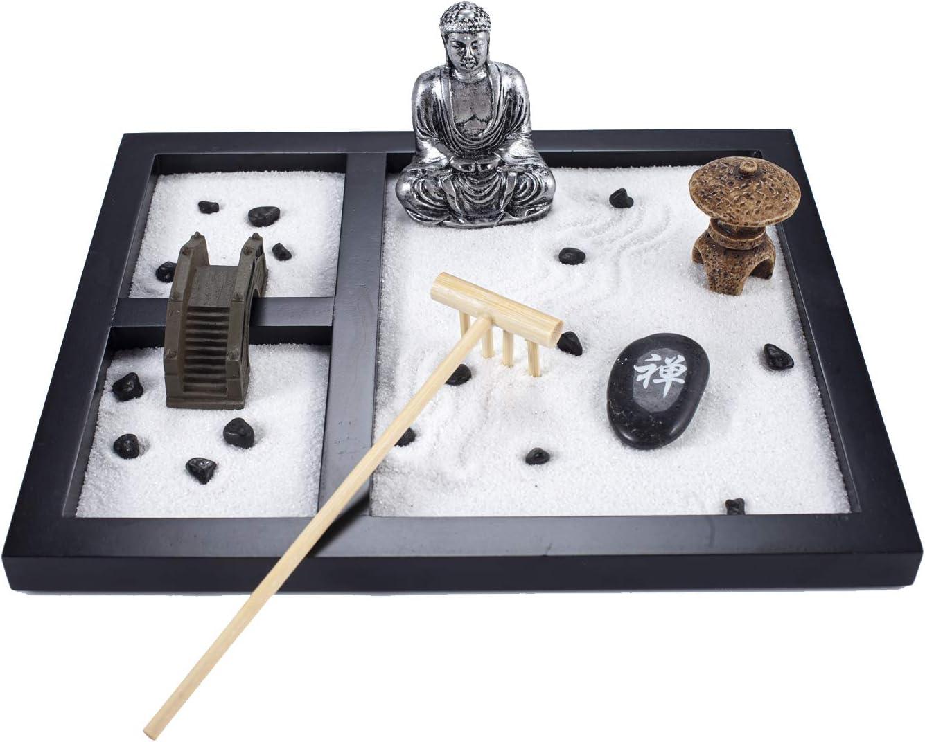 YJ Buddha Statue Meditation Zen Garden Table Décor Kit with Accessories GR019