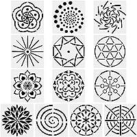 URlighting Mandala Dotting Stencils Template (13 Pack) - Reusable Different Patterns Mandala Dot Painting Template Set for Stone Wall Art, Canvas, Wood Furniture Painting