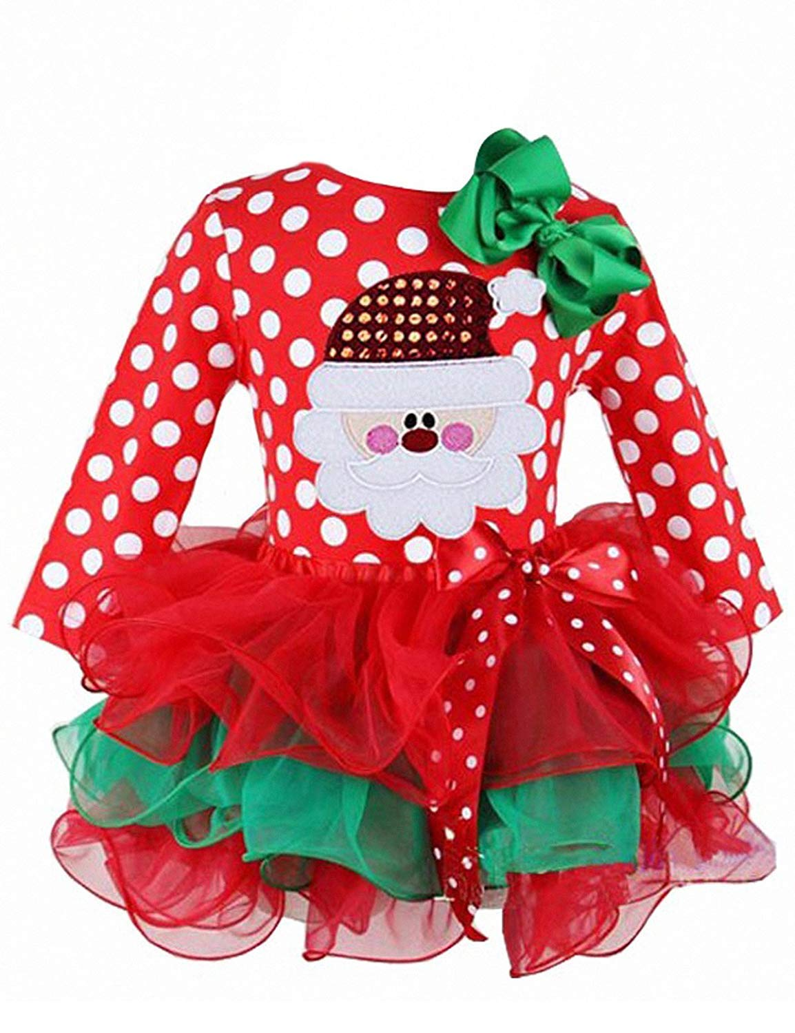 NNJXD Girl Santa Claus Pattern Polka Dot Bow Red Dress Size 2-3 Years Red&White