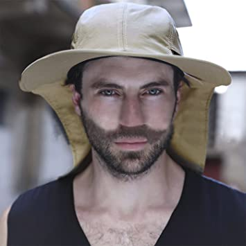 be6d71b8e0a17 Mens Wide Brim Sun Hat Fisherman Hat Outdoor Sunscreen Hat Neck Cover Cap  Anti-uv