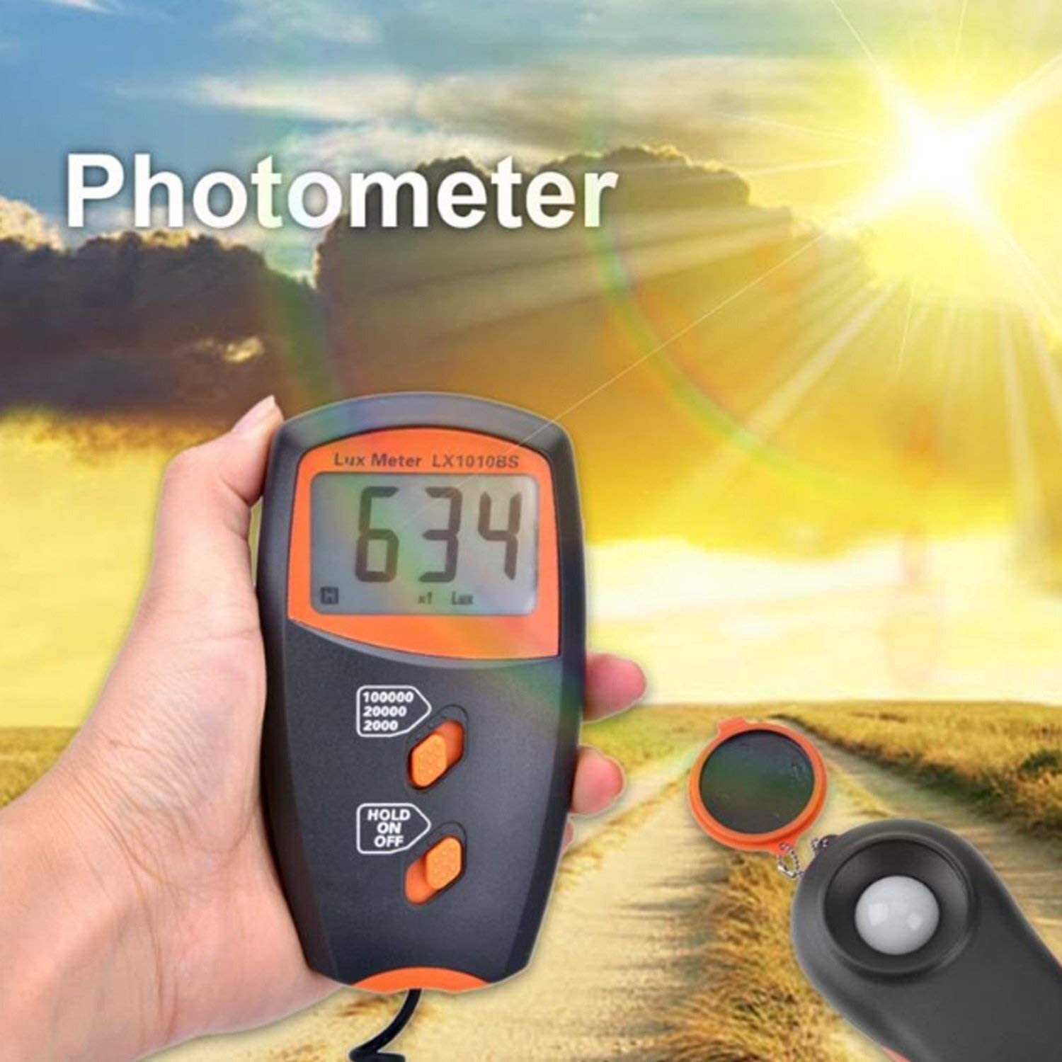 Sensor Instrument Light Meter Handheld Digital Lux Meter LX1010BS Light Measurement Range:1~100,000 Electronic Testing Equipment