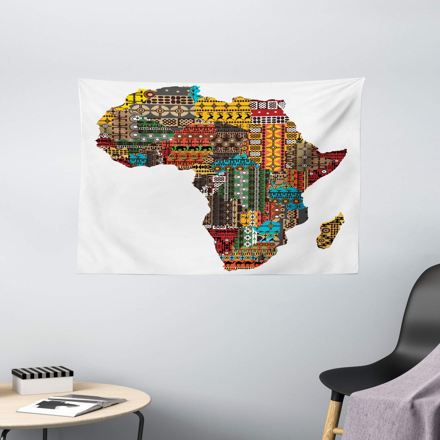 Multi Africa Map with Countries Made of Architectural Feature Popular Ancient Continent Art 80 X 60 Inches Ambesonne African Decorations Collection Bedroom Living Room Dorm Wall Hanging Tapestry