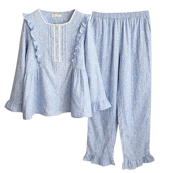 Mmllse Pijama De Manga Larga para Mujeres De Primavera Y Otoño Conjunto De Algodón Sweet Home De Encaje: Amazon.es: Ropa y accesorios
