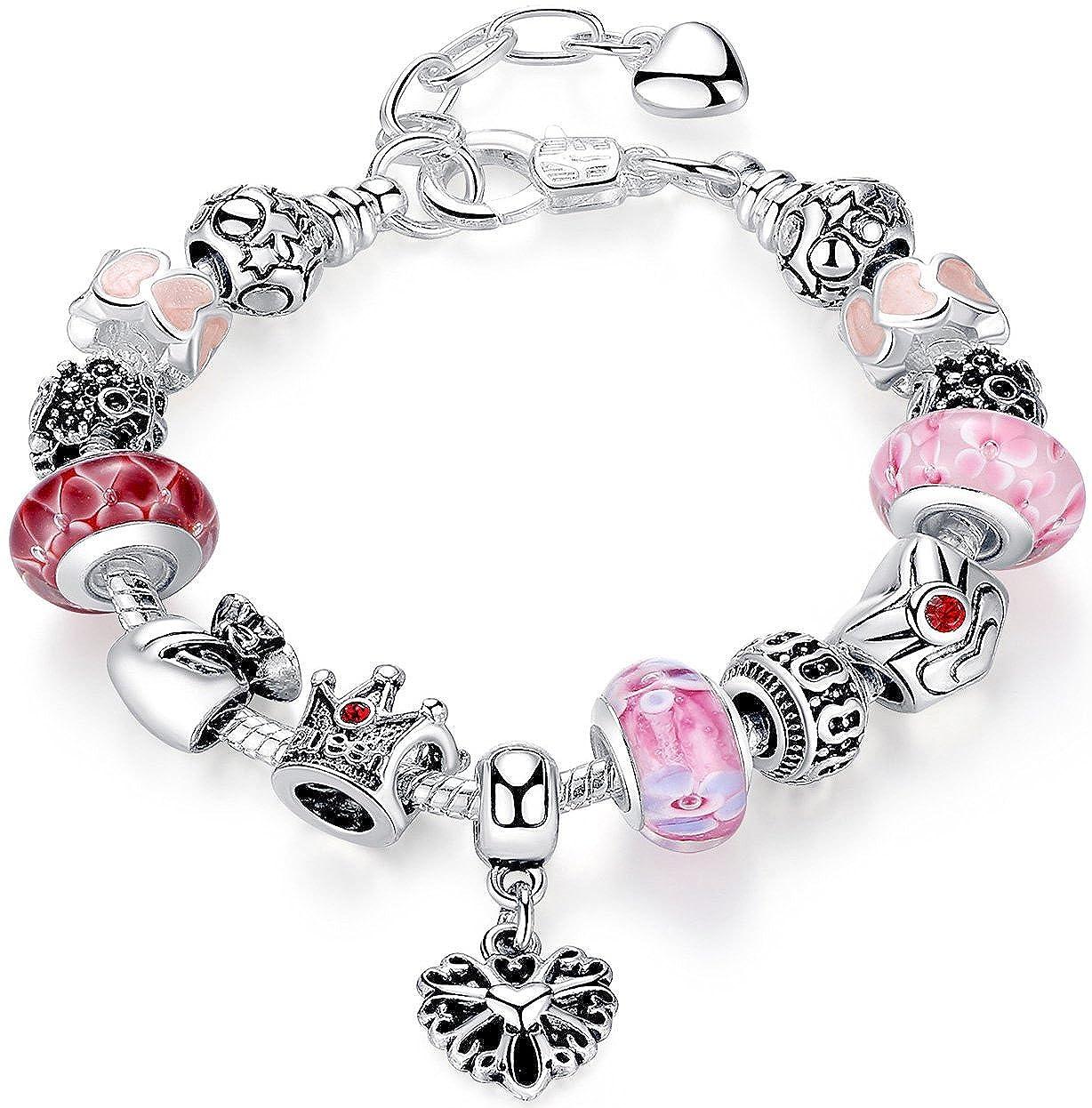 ANEWISH Bracelet pour les filles, Bijoux Fashion, fleurs Reine Perles charme, beau cadeau. f0007-b-queen