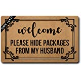 GXFC Welcome Mat with Rubber Back Welcome Please Hide Packages from My Husband Funny Doormat for Entrance Way Monogram Mats f