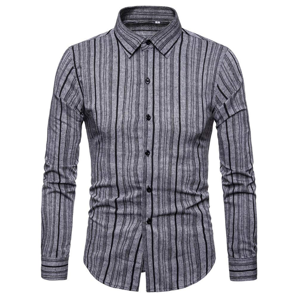 GREFER Casual Button-Down Shirts Men's Long Sleeved Printed Top Blouse Gray by GREFER
