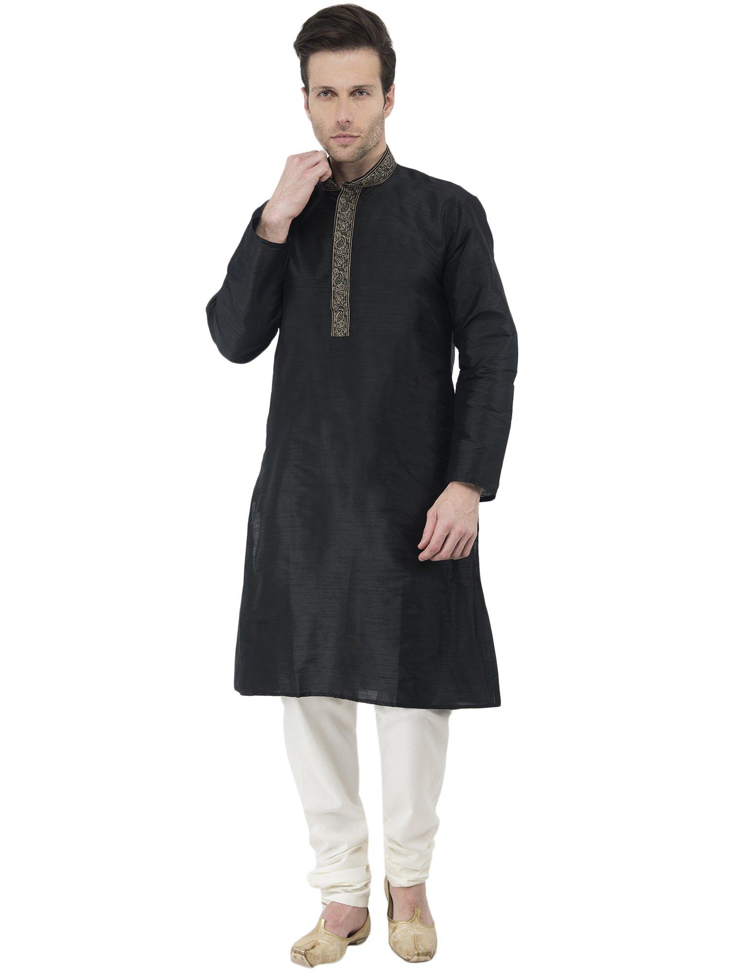 Mens Black Kurta Pajama Long Sleeve Button Down Shirt Indian Clothing Fashion Ethnic Dress -L